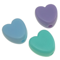 Jelly Style Acrylic Beads, Heart, mixed colors, 8.5x4mm, Hole:Approx 1mm, Approx 2040PCs/Bag, Sold By Bag