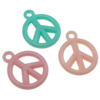 Acrylic Pendants, Peace Logo, jelly style, mixed colors, 15.50x19x3mm, Hole:Approx 2mm, Approx 1665PCs/Bag, Sold By Bag