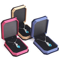 Velveteen Necklace Box, Plastic, with Velveteen, Rectangle, more colors for choice, 100x75x30mm, 20PCs/Lot, Sold By Lot