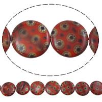 Naturalne koraliki z muszli z nadrukiem, Muszla słodkowodna, Płaskie koło, Drukowane, czerwony, 24x24x4mm, otwór:około 1mm, długość:około 9.8 cal, 10nici/torba, około 9/Strand, sprzedane przez torba