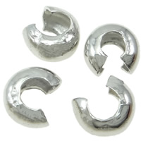 Iron Crimp Bead Cover, platinum color plated, nickel, lead & cadmium free, 3.50x3x2mm, 4000PCs/Bag, Sold By Bag