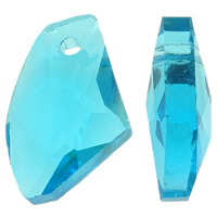 Crystal Pendants, Nuggets, faceted & imitation CRYSTALLIZED™ element crystal, Aquamarine, 11x18x6mm, Hole:Approx 1.5mm, 20PCs/Bag, Sold By Bag