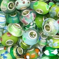 Szklane koraliki European, Lampwork, Okrąg, Ręcznie robione, mosiężny pojedynczy środek bez gwintu, dostępnych więcej kolorów, 14x7mm, otwór:około 4mm, 100komputery/torba, sprzedane przez torba