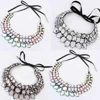 Acrylic Necklace, with Satin Ribbon & Velveteen, Teardrop, with rhinestone, mixed colors, 30-110mm, Length:15-21 Inch, 10Strands/Bag, Sold By Bag