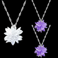 Cubic Zirconia Necklace, with brass chain, Flower, platinum color plated, mixed colors, nickel, lead & cadmium free, 10-20mm, Length:15-21 Inch, 10Strands/Bag, Sold By Bag