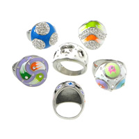 Enamel Stainless Steel Finger Ring with Rhinestone Clay Pave with rhinestone   mixed original color 13.5-27mm US Ring Size:7-8 5PCs/Lot