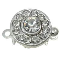 Zinc Alloy Box Clasp, Flat Round, platinum color plated, with rhinestone & single-strand, nickel, lead & cadmium free, 10x13x6mm, Hole:Approx 1mm, 10PCs/Bag, Sold By Bag