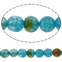 Crackle Agate Beads, Round, faceted, blue, 6mm, Hole:Approx 0.8-1mm, Length:Approx 15.5 Inch, 15Strands/Lot, 65PCs/Strand, Sold By Lot