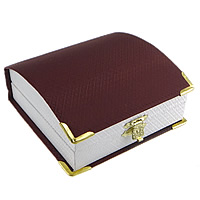 Leather Bracelet Boxes, Plastic, with Leather & Zinc Alloy, Rectangle, gold color plated, dark red, 95x93x40mm, 24PCs/Lot, Sold By Lot