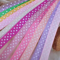 Grosgrain Ribbon printing with round spot pattern   single-sided mixed colors 9mm 5PCs/Lot 100Yard/PC