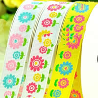 Grosgrain Ribbon printing with flower pattern   single-sided mixed colors 2PCs/Bag 100Yards/PC
