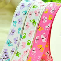 Grosgrain Ribbon, printing, with butterfly pattern & different size for choice & single-sided, mixed colors, 2PCs/Bag, 100Yards/PC, Sold By Bag