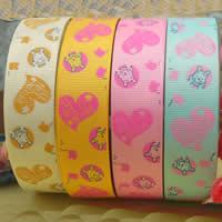 Wstążka Grosgrain, Wstążka rypsowa, Drukowane, z serca wzór & różnej wielkości do wyboru & jednostronne, mieszane kolory, 2komputery/torba, 100m/PC, sprzedane przez torba