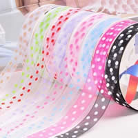 Organza Ribbon, printing, different size for choice & with round spot pattern, mixed colors, 5PCs/Bag, 200/PC, Sold By Bag