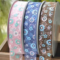 Organza Ribbon, printing, different size for choice & with flower pattern, mixed colors, 5PCs/Bag, 200/PC, Sold By Bag