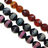 Natural Lace Agate Beads, Round, different size for choice, mixed colors, Hole:Approx 1-2mm, Length:Approx 15 Inch, Sold By Bag