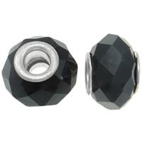 Кристальные бусины Европейская стиль, Кристаллы, Круглая форма, латунные Двухместный ядро без Тролль & граненый, цвет черного янтаря, 13x10mm, отверстие:Приблизительно 5mm, 20ПК/сумка, продается сумка