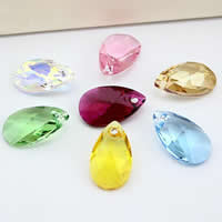 Austrian Crystal Pendant, Teardrop, imported & faceted, mixed colors, 16x12mm, Hole:Approx 1-2mm, 10PCs/Bag, Sold By Bag