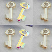 Austrian Crystal Pendant, Key, imported & faceted, mixed colors, 30mm, Hole:Approx 2-5mm, 5PCs/Bag, Sold By Bag