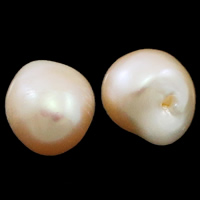No Hole Cultured Freshwater Pearl Beads, Nuggets, natural, pink, 12-13mm, Sold By Pair