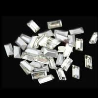Стразы клеевые, Кристаллы, Прямоугольная форма, плакирован серебром, острый конец & граненый, кристальный, 5x10mm, 300ПК/сумка, продается сумка