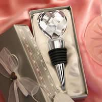 цинковый сплав бутылочная пробка, с стеклянные камешки & Силикон, Сердце, плакирован серебром, не содержит никель, свинец, 135x78x48mm, 15ПК/Лот, продается Лот