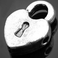 Sinkkiseos Lock riipukset, Lukko, antiikki hopea päällystetty, nikkeli, lyijy ja kadmium vapaa, 9.60x13.70mm, Reikä:N. 3-5mm, 1000PC/erä, Myymät erä