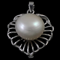 Brass Jewelry Pendants, with pearl, Leaf, silver color plated, nickel, lead & cadmium free, 21x28x12mm, Hole:Approx 2mm, 5PCs/Bag, Sold By Bag