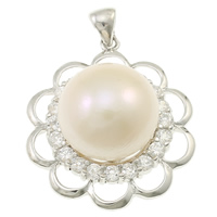 925 Sterling Silver Pendant, with pearl, Flower, natural, with cubic zirconia, white, 30x39x15mm, Hole:Approx 2x5mm, Sold By PC