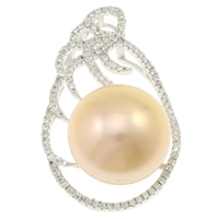 Cubic Zirconia Micro Pave Sterling Silver Pendant, 925 Sterling Silver, with pearl, natural, micro pave cubic zirconia, pink, 21x34x15mm, Hole:Approx 2x5mm, Sold By PC