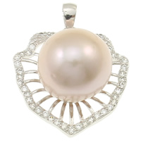 Cubic Zirconia Micro Pave Sterling Silver Pendant, 925 Sterling Silver, with pearl, Leaf, natural, micro pave cubic zirconia, purple, 23x31x16mm, Hole:Approx 2x5mm, Sold By PC
