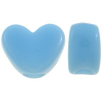 Solid Color Acrylic Beads, Heart, light blue, 12x10x7mm, Hole:Approx 4mm, Approx 1250PCs/Bag, Sold By Bag