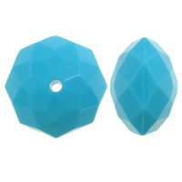 Solid Color Acrylic Beads, Rondelle, faceted, skyblue, 16x22mm, Hole:Approx 2mm, Approx 125PCs/Bag, Sold By Bag