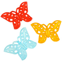 Acrylic Pendants, Butterfly, transparent & hollow, mixed colors, 55x37x5mm, Hole:Approx 2mm, Approx 105PCs/Bag, Sold By Bag