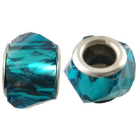 European Resin Beads, transparent & brass double core without troll & faceted, more colors for choice, 14x9mm, Hole:Approx 5mm, 500PCs/Bag, Sold By Bag