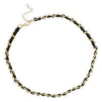Сеть Тканые ожерелье, Железо, с шерстяной шнур, с 7cm наполнитель цепи, плакирован золотом, твист овал, не содержит никель, свинец, 8x12x2mm, длина:Приблизительно 17 дюймовый, 20пряди/сумка, продается сумка