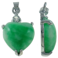 Natural Aventurine Pendants, Brass, with Green Aventurine, Heart, platinum color plated, with rhinestone, nickel, lead & cadmium free, 16x30x6.50mm, Hole:Approx 2.5mm, Sold By PC