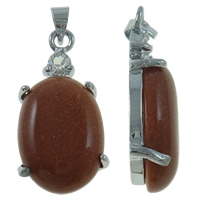 Natural Goldstone Pendants, Brass, with Goldstone, Oval, platinum color plated, with rhinestone, nickel, lead & cadmium free, 13x60x6mm, Hole:Approx 2mm, Sold By PC