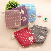 Jewelry Drawstring Bags, Cotton, with Wood, Rectangle, with round spot pattern, more colors for choice, 16x14mm, 30PCs/Lot, Sold By Lot