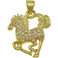 Cubic Zirconia Micro Pave Brass Pendant, Horse, real gold plated, micro pave cubic zirconia, nickel, lead & cadmium free, 19x19x3mm, Hole:Approx 3mm, 20PCs/Lot, Sold By Lot