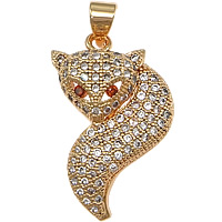 Cubic Zirconia Micro Pave Brass Pendant, Fox, real rose gold plated, micro pave cubic zirconia, nickel, lead & cadmium free, 16x25x5mm, Hole:Approx 3mm, 10PCs/Lot, Sold By Lot