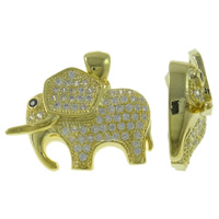 Cubic Zirconia Micro Pave Brass Pendant, Elephant, real gold plated, micro pave cubic zirconia, nickel, lead & cadmium free, 22x20x5mm, Hole:Approx 2mm, Sold By PC