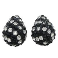 Bolas de medio perforado, Arcilla analiar de diamantes de imitación AB, Gota, con diamantes de imitación 90 PC & perforado medio, más colores para la opción, 14x19mm, agujero:aproximado 1mm, 5PCs/Bolsa, Vendido por Bolsa