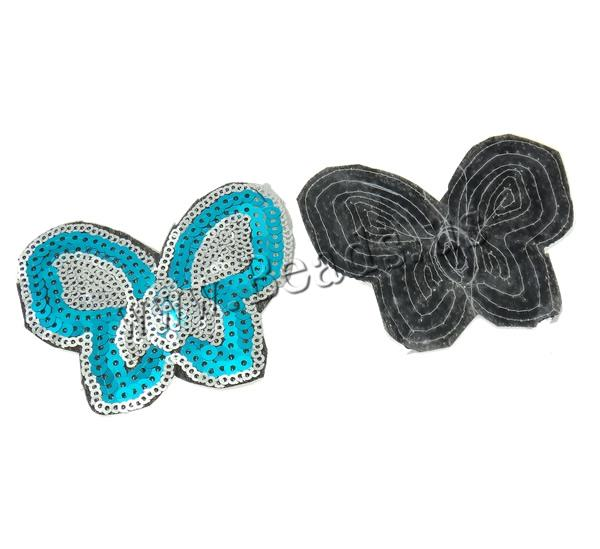 Buy Sewing-on Patch Cloth Plastic Sequin Butterfly mixed colors 82x64x1mm 99PCs/Bag Sold Bag