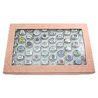 цинковый сплав Часы-кольцо, с Стеклянный, Платиновое покрытие платиновым цвет, регулируемый & разнообразный, не содержит никель, свинец, 180x280x35mm, 18-21x25-27mm, 50ПК/Box, продается Box