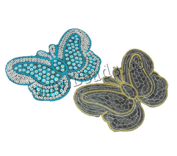 Buy Sewing-on Patch Cloth Plastic Sequin Butterfly mixed colors 110x72x1mm 99PCs/Bag Sold Bag
