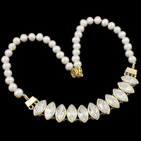 Crystal Freshwater Pearl Necklace, with Crystal, brass foldover clasp, Potato, natural, with rhinestone, white, 7-8mm, 136x18x8mm, Sold Per Approx 18 Inch Strand