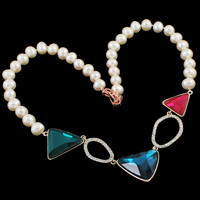 Crystal Freshwater Pearl Necklace, with Crystal, brass foldover clasp, Potato, natural, with rhinestone, white, 8-9mm, 127x26x10mm, Sold Per Approx 17 Inch Strand