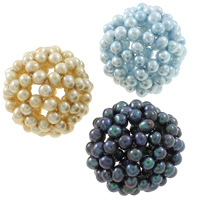 Koraliki z hodowlanych pereł w kształcie piłki, Perła naturalna słodkowodna, Koło, mieszane kolory, 34mm, otwór:około 7mm, 5komputery/torba, sprzedane przez torba