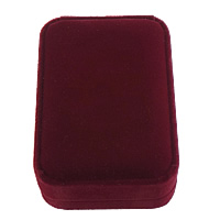 Velveteen Pendant Box, Plastic, with Velveteen, Rectangle, dark red, 70x100x35mm, 28PCs/Lot, Sold By Lot